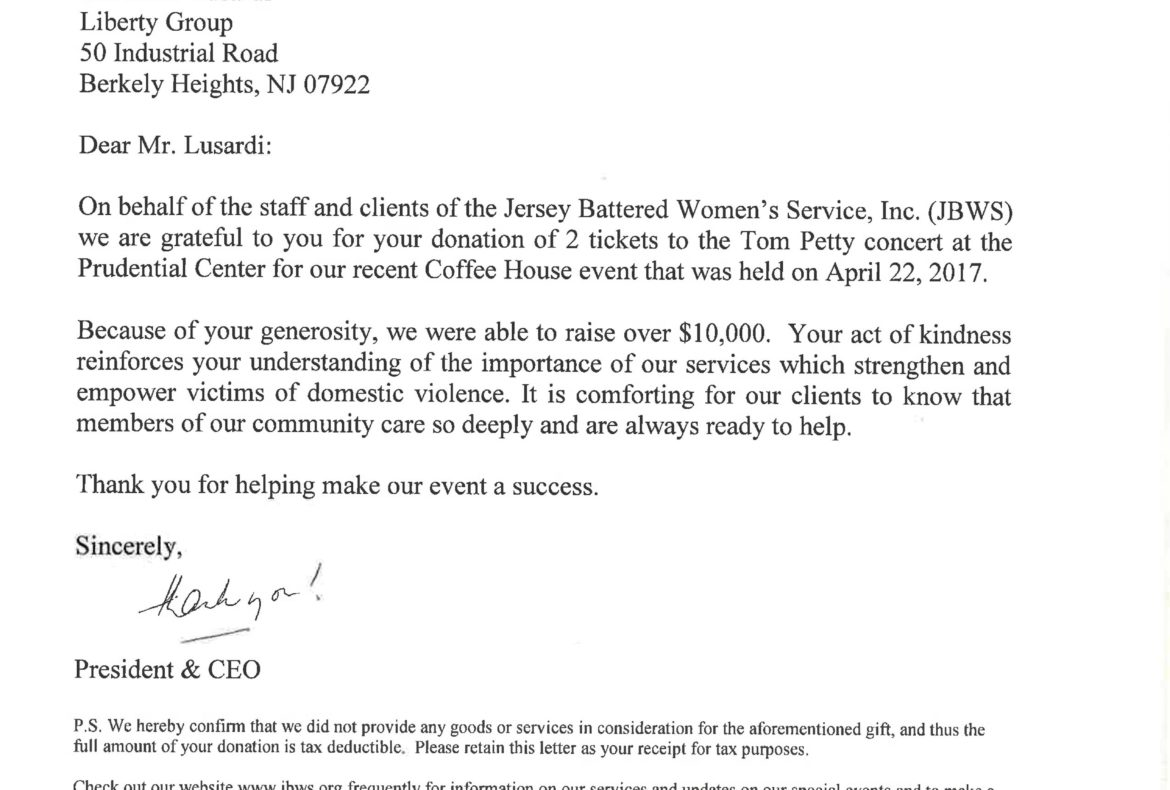 Thank you from Jersey Battered Women's Service